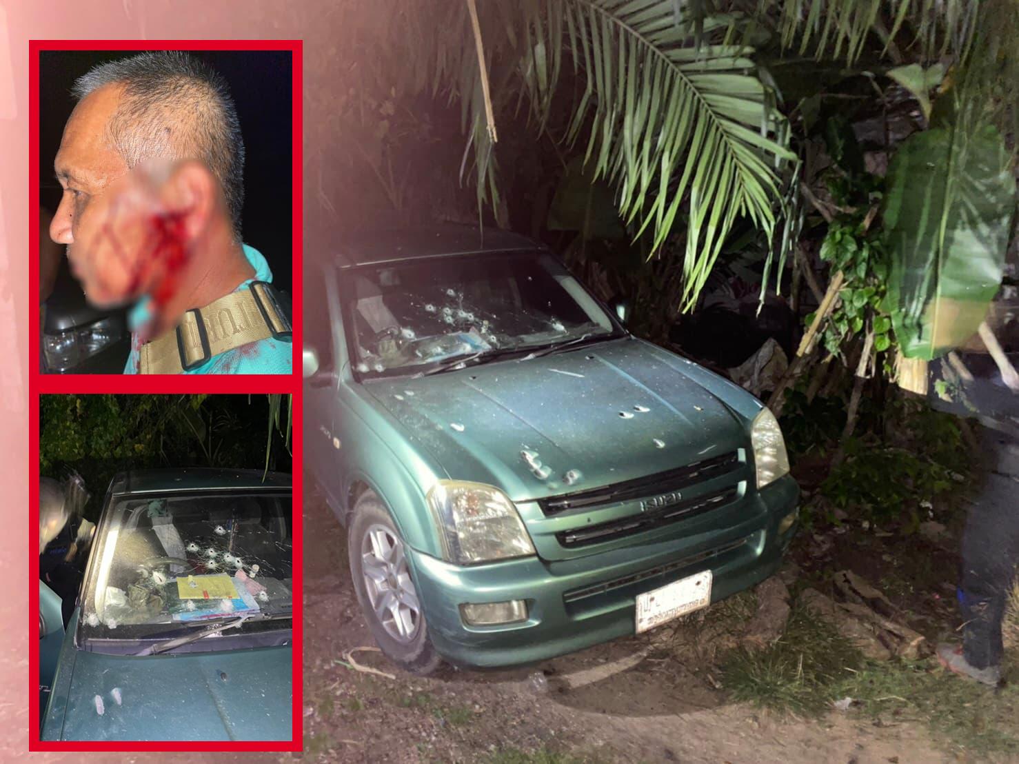 คนร้ายซุ่มยิงถล่มรถทหารบนถนนที่นราธิวาส